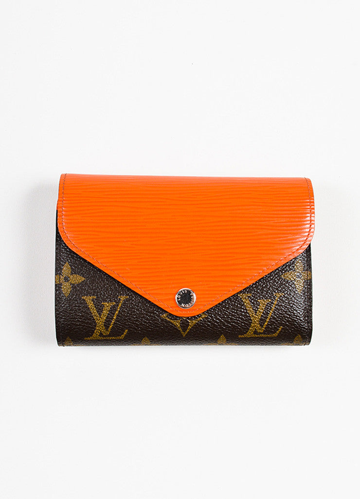 "Louis Vuitton Brown and Orange Epi Leather Monogram Compact ""Marie-Lou"" Wallet Frontview"