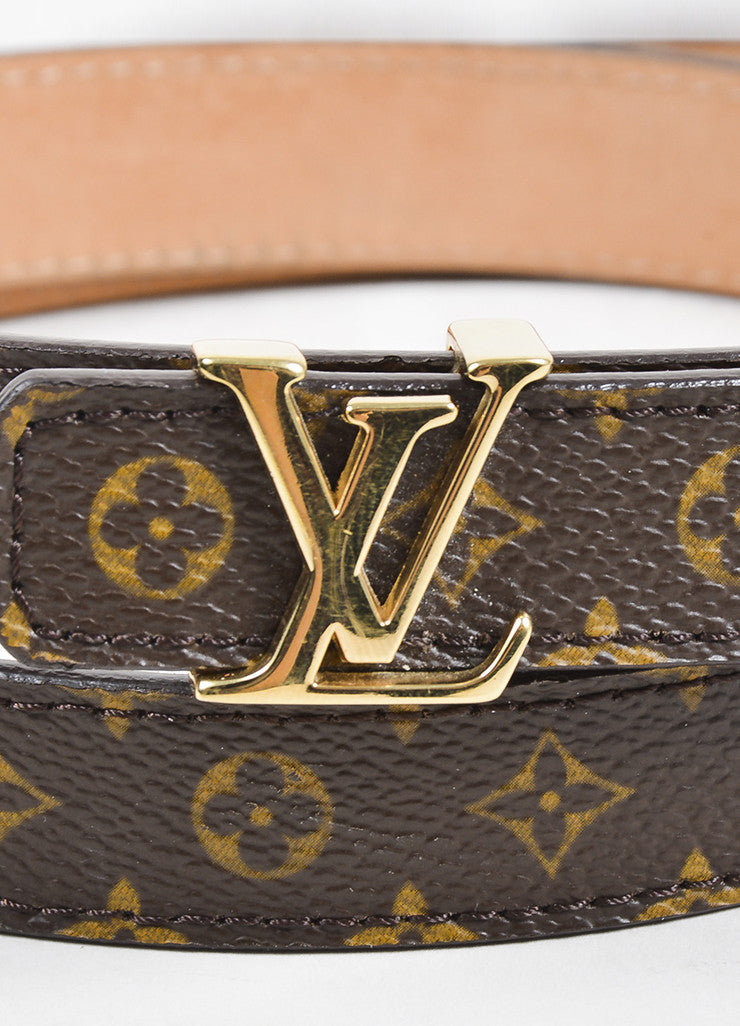 Louis Vuitton Brown and Tan Gold Toned Monogram 'LV' Buckle Thin Belt Detail