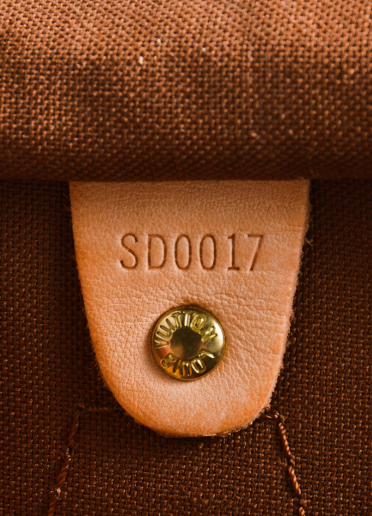 "Louis Vuitton Brown Monogram Canvas 25cm ""Speedy"" Bag Date Code"
