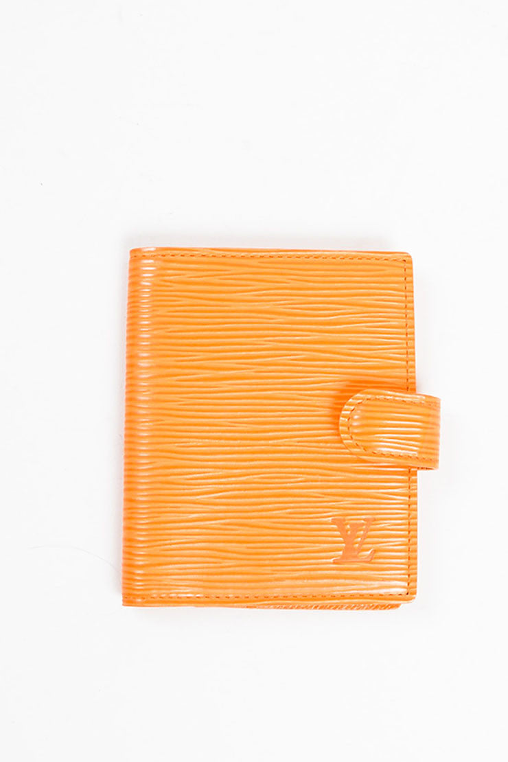 Louis Vuitton Orange Epi Leather Card Holder Wallet Frontview