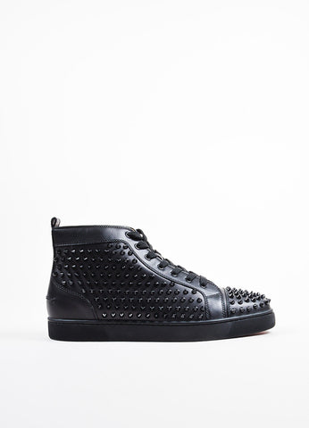 "Men's Christian Louboutin Black Leather ""Louis Flat Spikes Sideview"