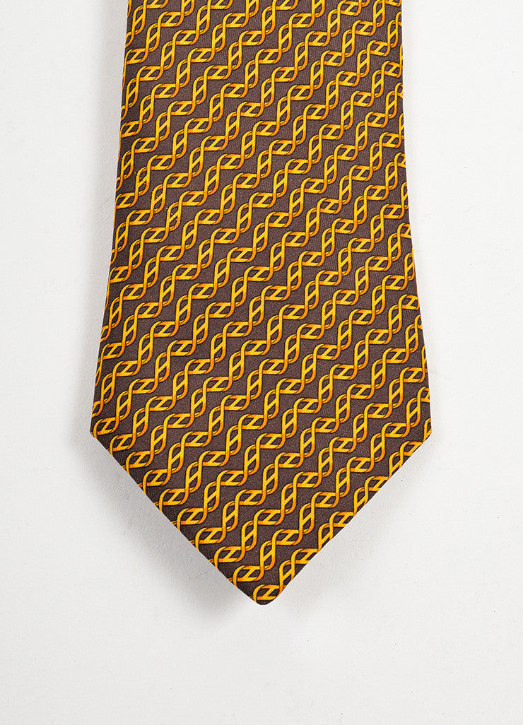 MENS Hermes Brown Orange Gold Silk Print Tie Detail