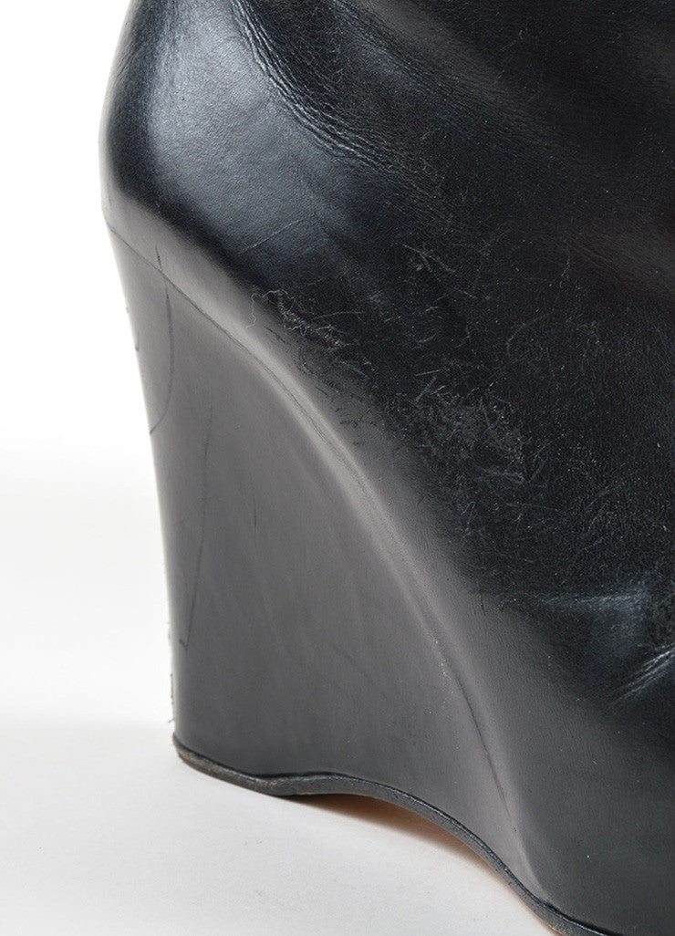 Maison Martin Margiela Black Leather Hidden Wedge and Platform Tall Boots Detail