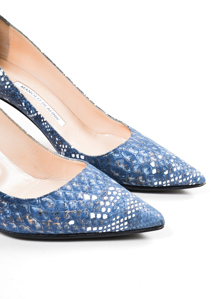 Blue and White Manolo Blahnik Snakeskin Embosssed Suede Pointed Toe Pumps Detail