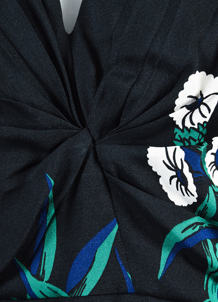 Black, Green and Navy Blue Marni Floral Print Pleated Sleeveless Top Detail