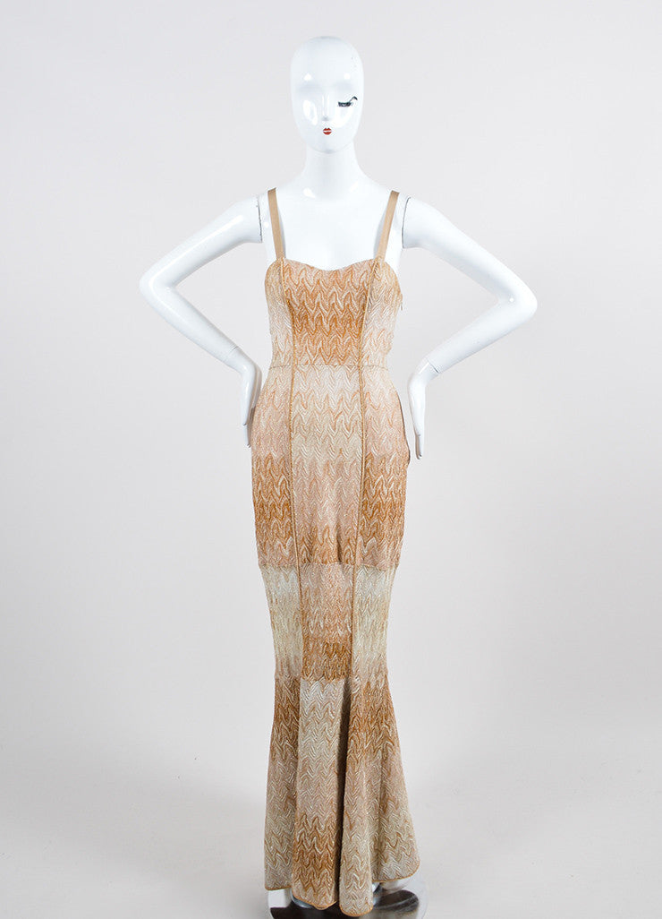 Tan and Gold Metallic Missoni Woven Knit Strapless Gown Frontview