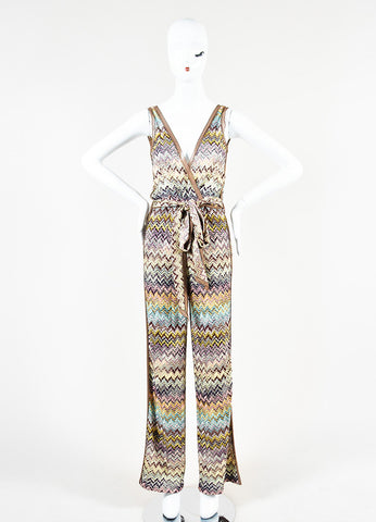 Missoni Orange Label Multicolor Zig Zag Knit Sleeveless Belted Jumpsuit Frontview