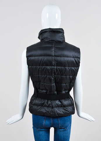 Black Moncler Down Filled Quilted Belted Puffer Vest  Backview