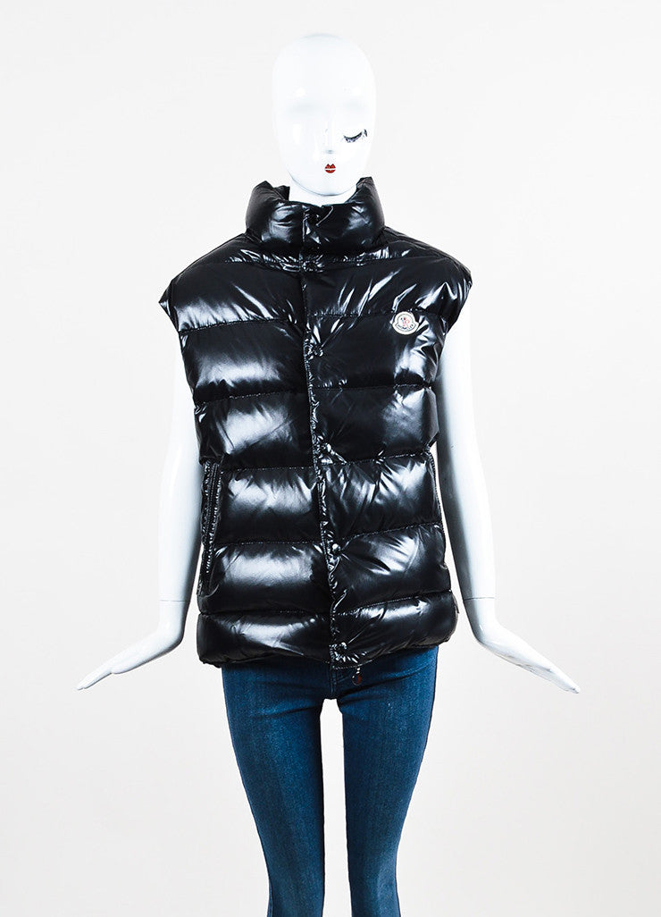 Black Moncler Nylon Down Quilted Puffer Vest Front 2