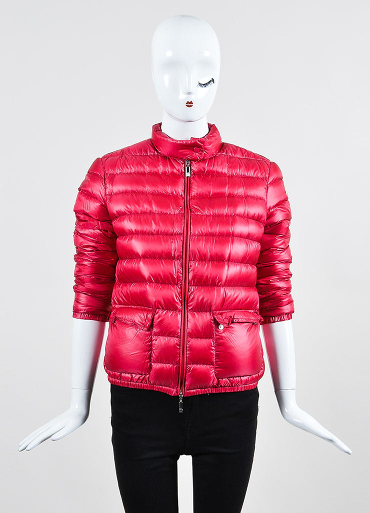 Cherry Red Moncler Channeled Puffer Stand Collar Jacket Frontview 2