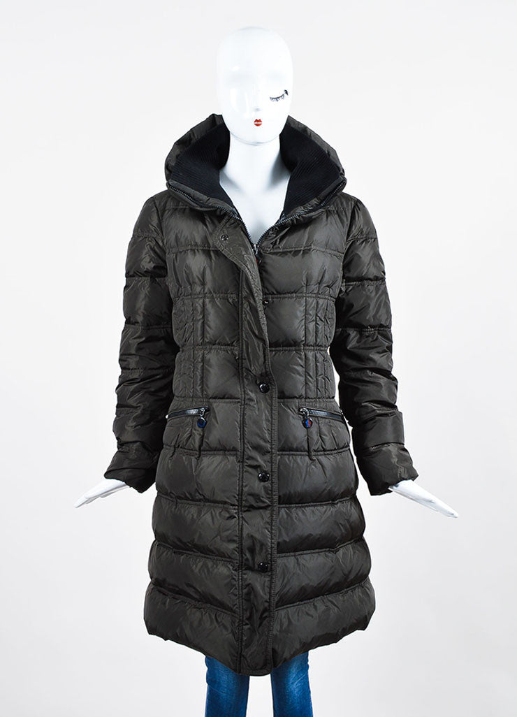 Dark Grey Moncler Nylon Down Quilted Knit Collar Puffer Coat  Frontview 2