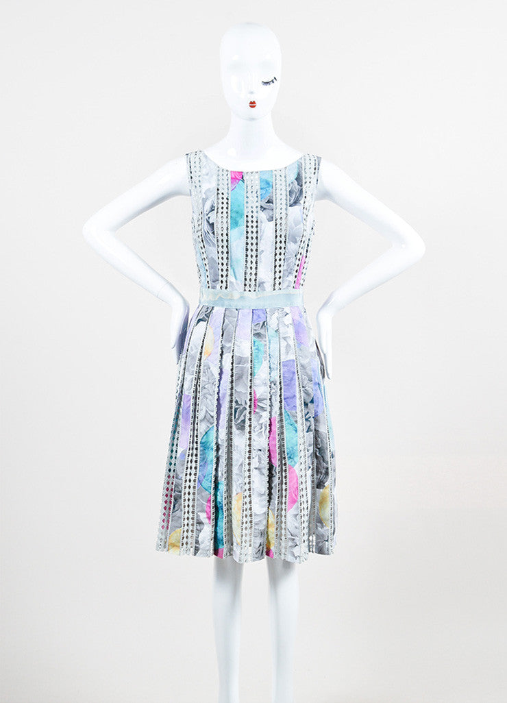 Moschino Cheap and Chic Grey and Pink Cotton Crochet Stripe Pleated Sleeveless Dress Frontview