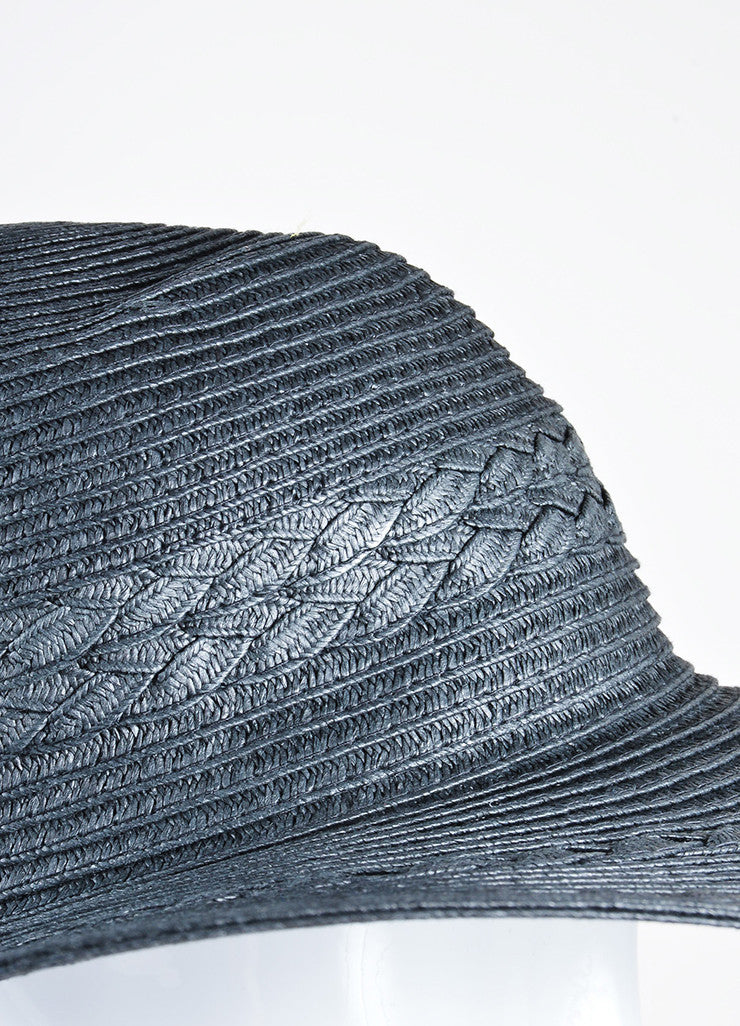 Black Mott 50 Straw Braided Floppy Brim 'Gisele' Sun Hat Detail