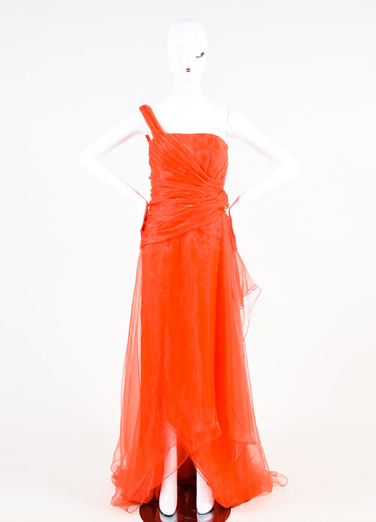 Oscar de la Renta Red One Shoulder Organza Gathered Gown Frontview