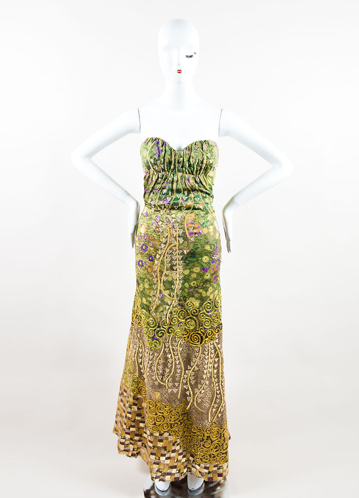 Oscar de la Renta Green, Purple, and Gold Silky Embroidered Strapless Gown Frontview