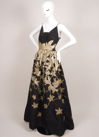 Oscar de la Renta Black and Gold Silk Leaf Embroidered Sequin Gown Sideview