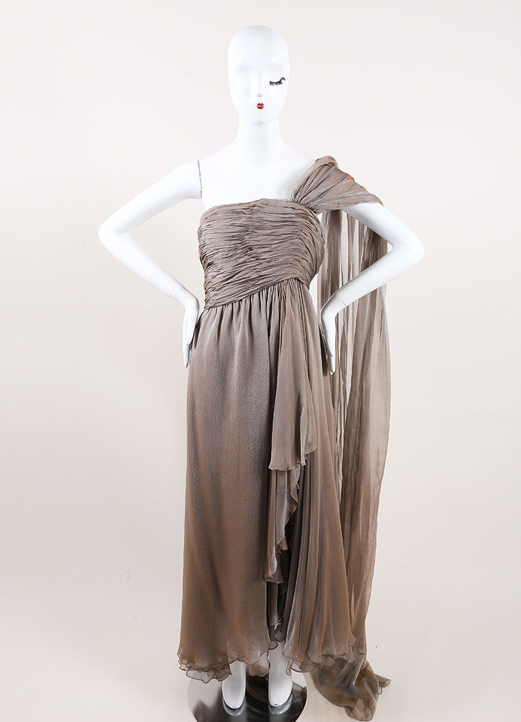 Oscar de la Renta Taupe Chiffon Strapless Draped Tea Length Dress Frontview