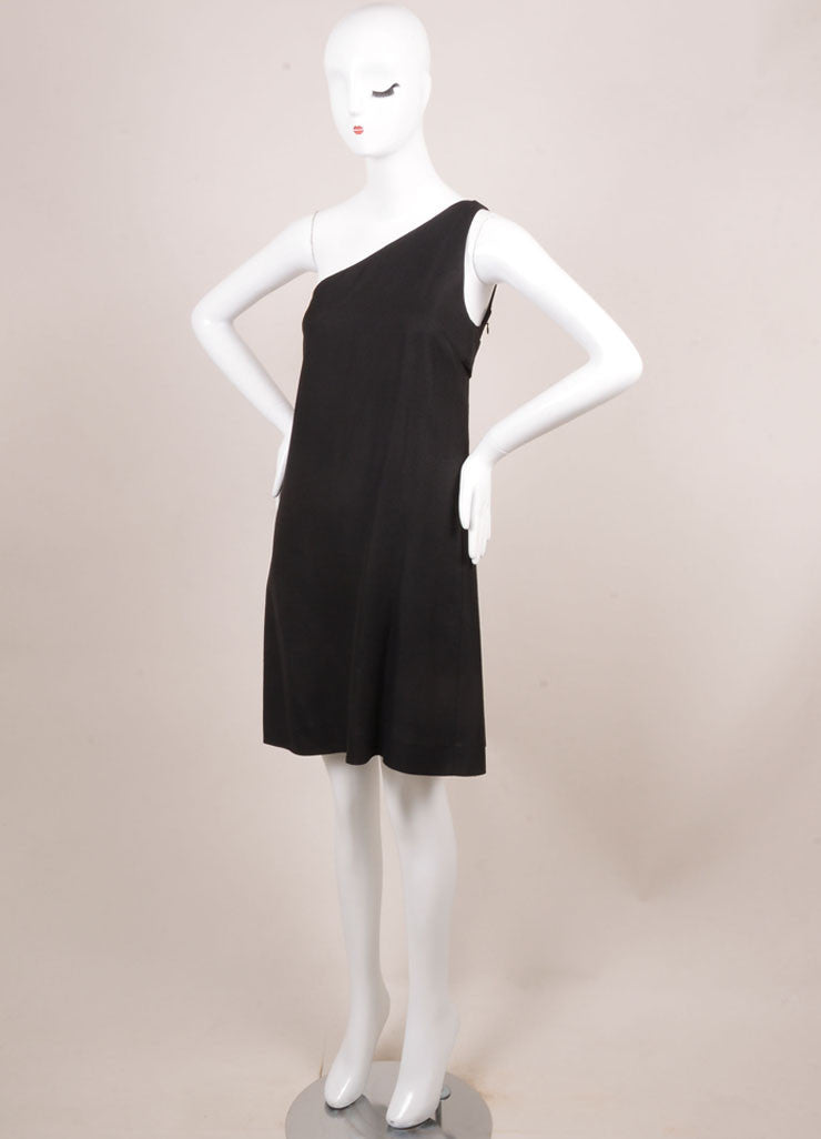 Phoebe Philo for Chloe Black Silk Knit One Shoulder Dress Sideview