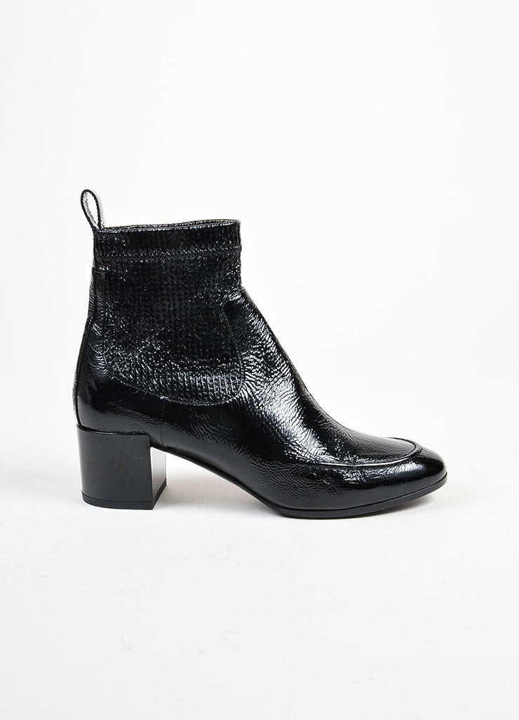"Pierre Hardy Black Textured Patent Leather ""Ace"" Chelsea Boots Sideview"