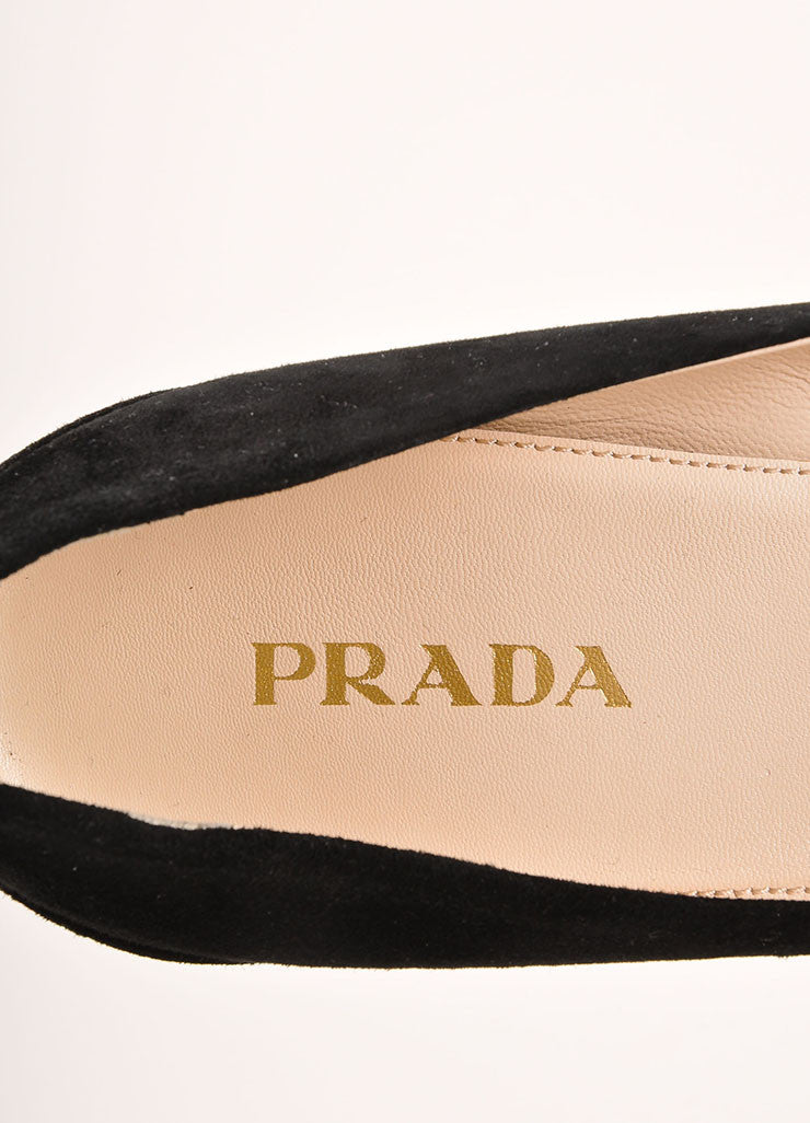 Prada Black and Grey Triangle Applique Pointed Toe Suede Leather Pumps Brand
