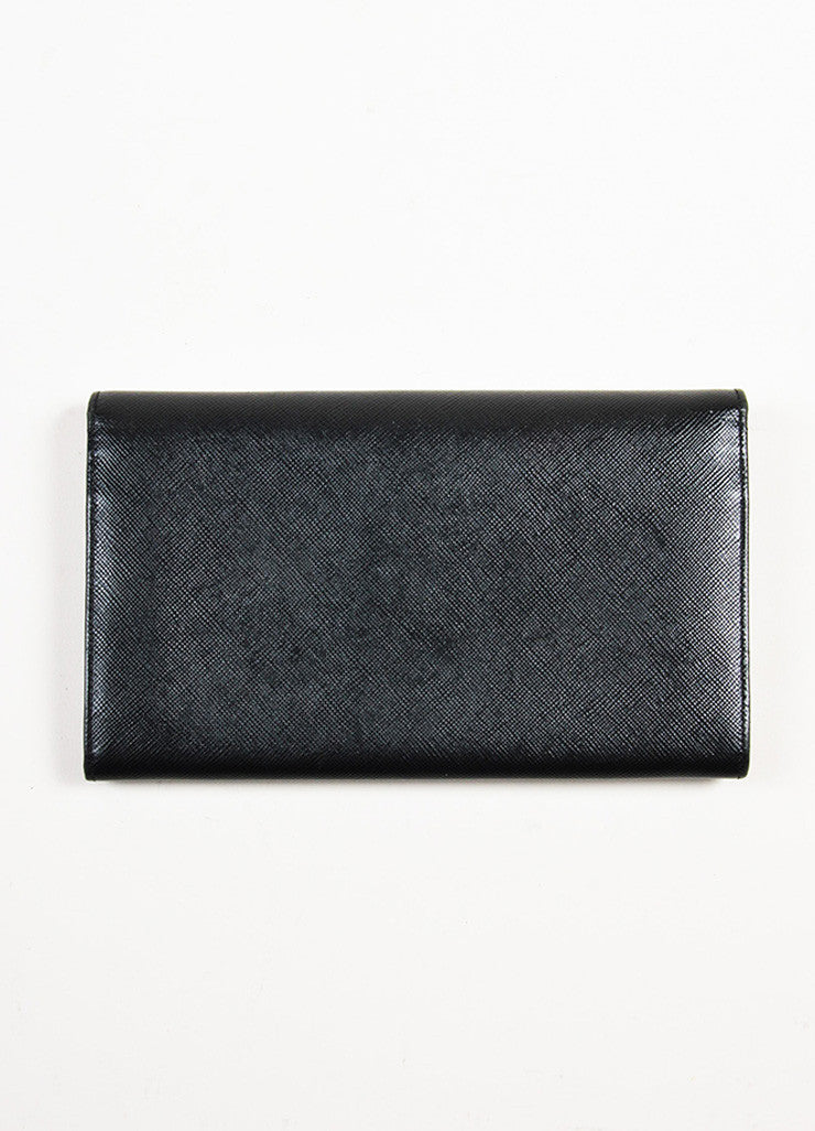 Prada Black Saffiano Leather Continental Wallet Backview