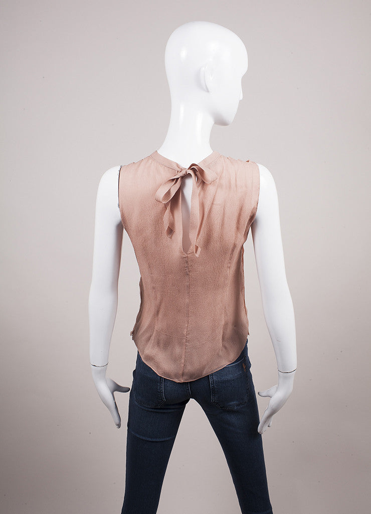 Prada Blush Pleated Tie Back Sleeveless Blouse Backview