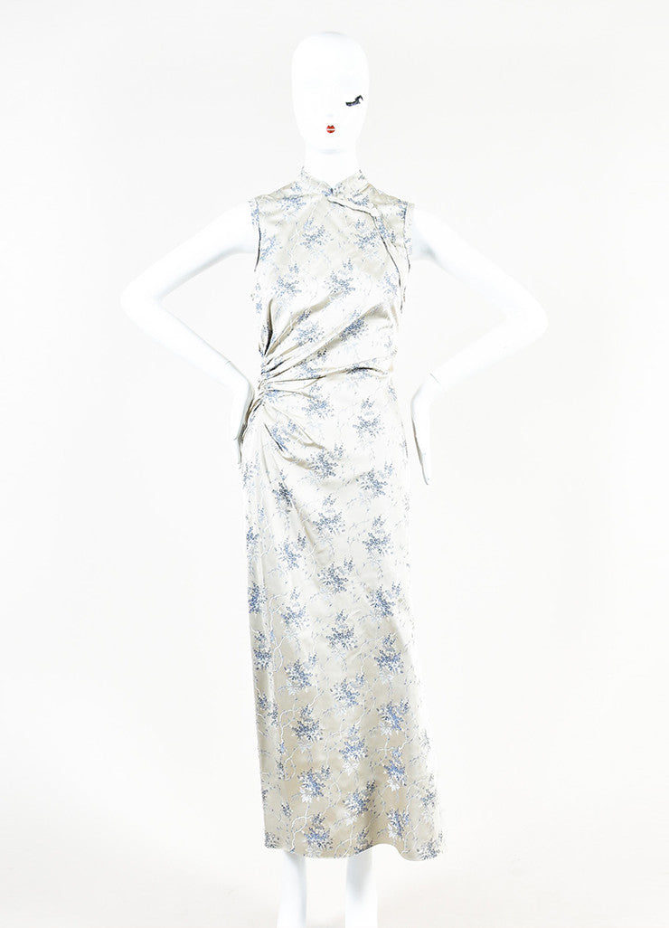 Grey Prada Floral Print Ruched Side Sleeveless Maxi Dress Front