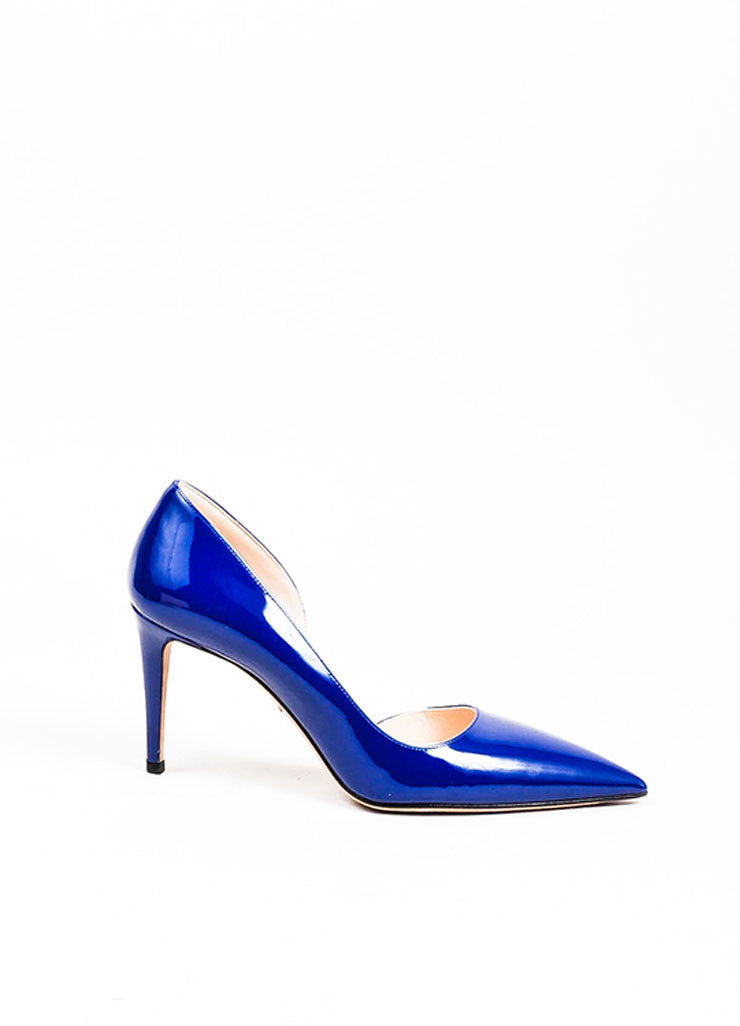 Navy Blue Prada Patent Leather Pointed Toe D'Orsay Pumps Sideview