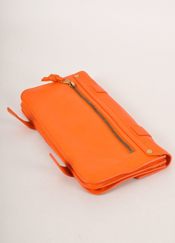 "Proenza Schouler Orange Leather Latch Flap ""PS1 Pochette"" Clutch Bag Backview"