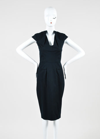 "RM by Roland Mouret ""Mona"" Black Pleated Cap Sleeve Pencil Dress Frontview"
