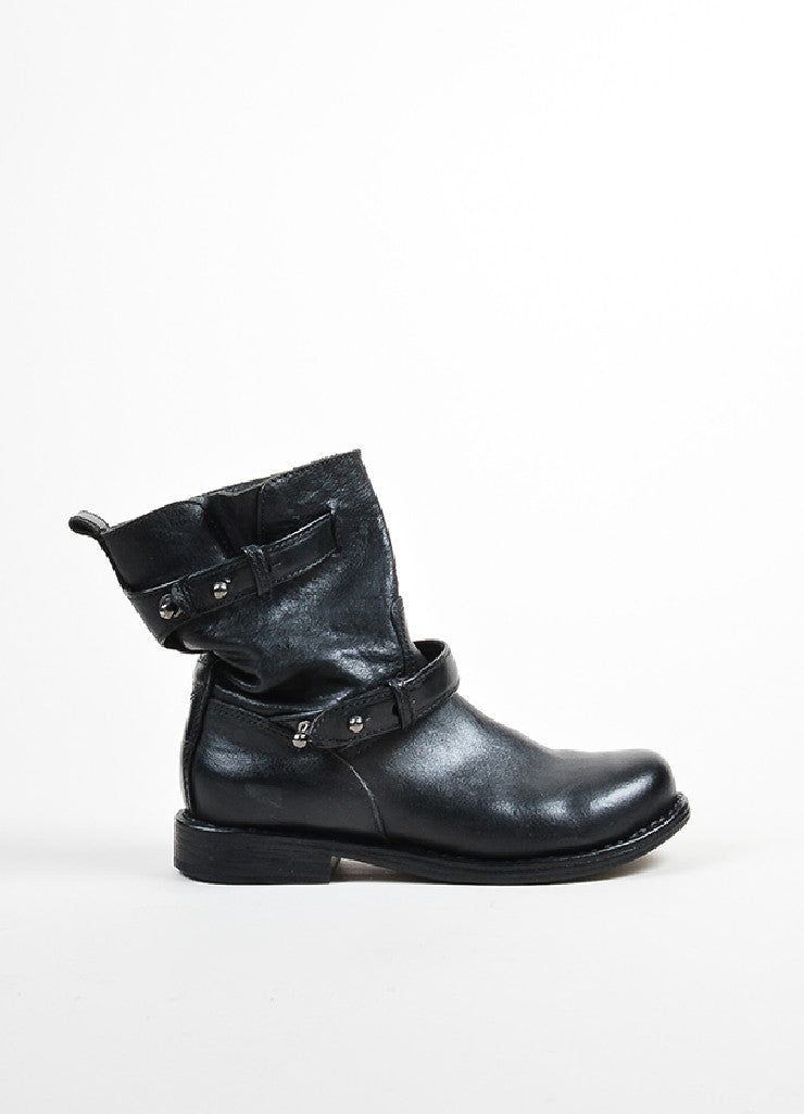 Black Rag & Bone Leather Belted Short Moto Boots Sideview