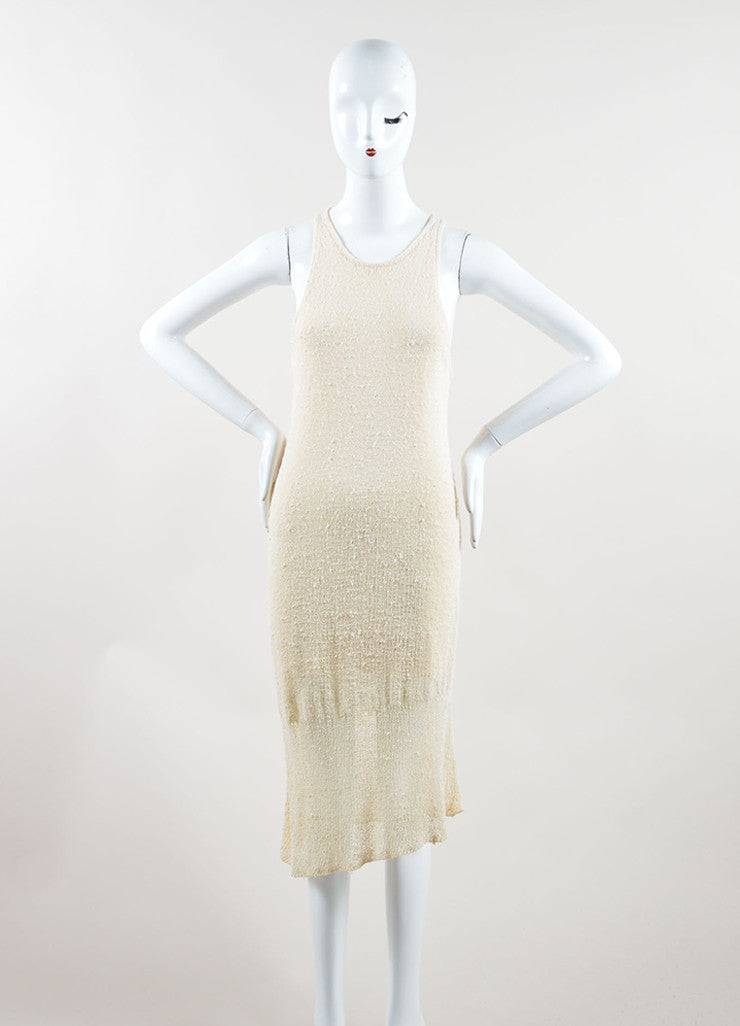 "Rag & Bone Cream Knit Knee Length Asymmetric Racerback ""Bridget"" Tank Dress  Frontview"