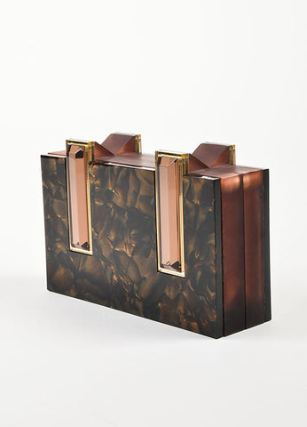 "Rauwolf Brown Opalescent Plexiglass ""Elettra"" Gold Leaf Clutch Bag Sideview"