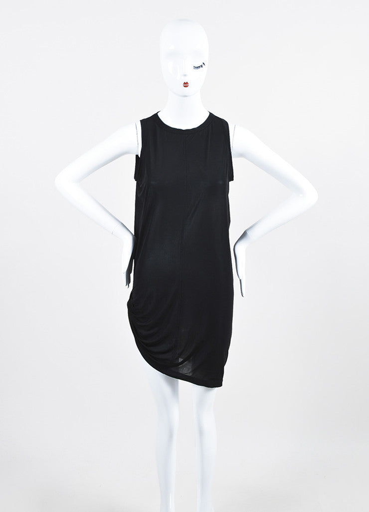 Rick Owens Black Stretch Jersey Gathered Asymmetric Sleeveless Tunic Dress Frontview