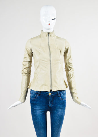 Beige Rick Owens Leather Round Collar Jacket Frontview 2