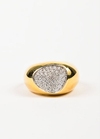 "Roberto Coin 18K Yellow Gold and Pave Diamond ""Capri Plus"" Cocktail Ring Frontview"