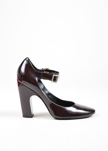 Burgundy Roger Vivier Patent Leather Mary Jane Heels Sideview