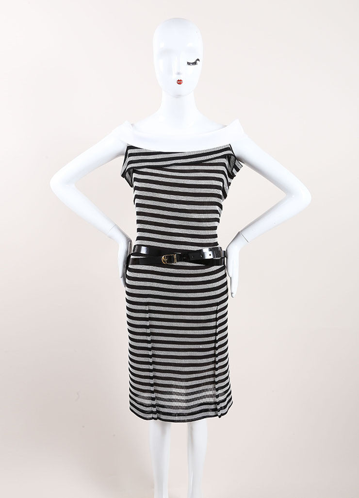 "Roland Mouret Black and White Cotton Striped ""Layan"" Belted Dress Frontview"