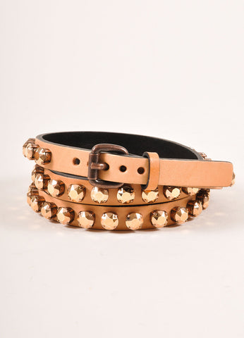 Ronald Pineau New With Tags Nude Leather Rhinestone Studded Skinny Belt Frontview