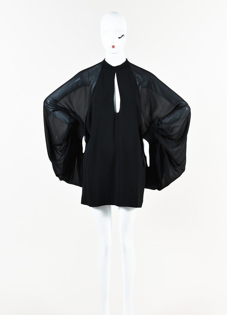 Saint Laurent Black Crepe Balloon Sleeve Tunic Dress Frontview