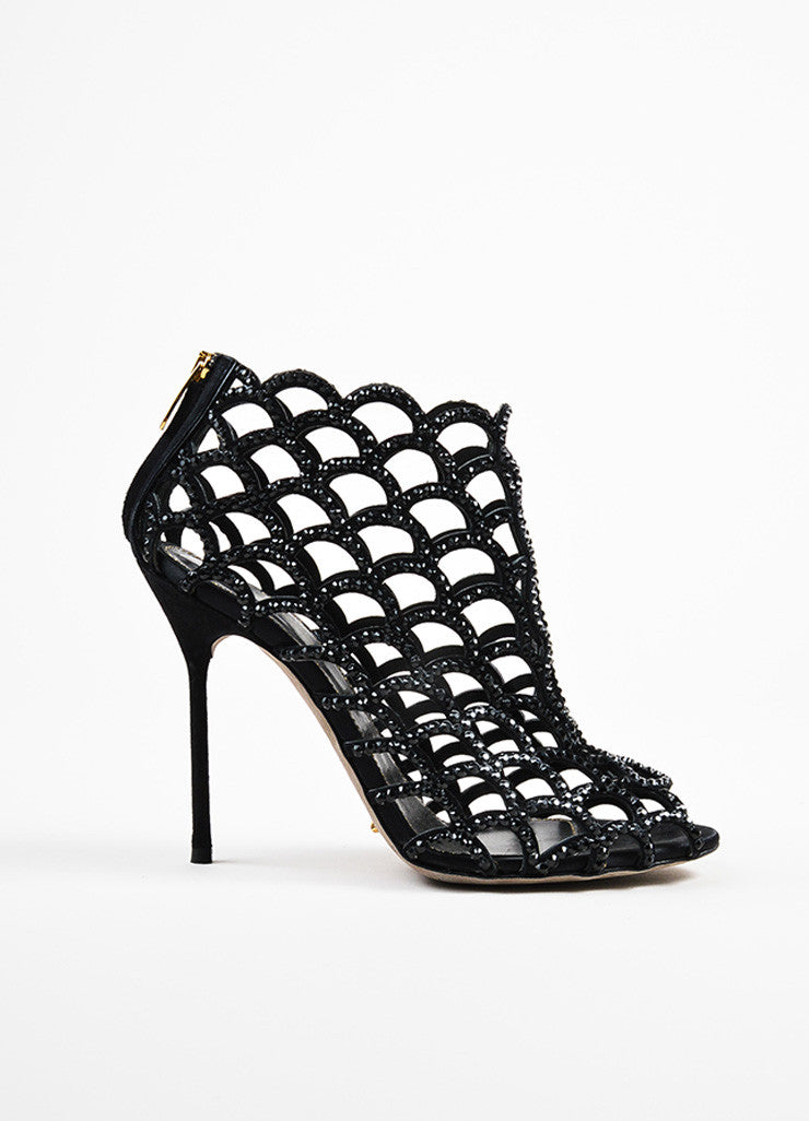 "Sergio Rossi ""Black Strass"" Suede and Crystal Scalloped Peep Toe Booties Sideview"