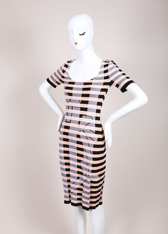 Sonia Rykiel New With Tags Black and Nude Stretch Knit Stripe Bow Print Dress Sideview