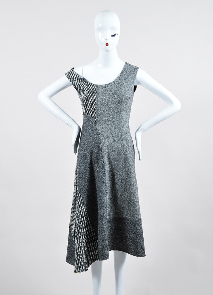 "Grey Wool Tweed Stella McCartney ""Jackie"" Sleeveless Midi Dress Frontview"