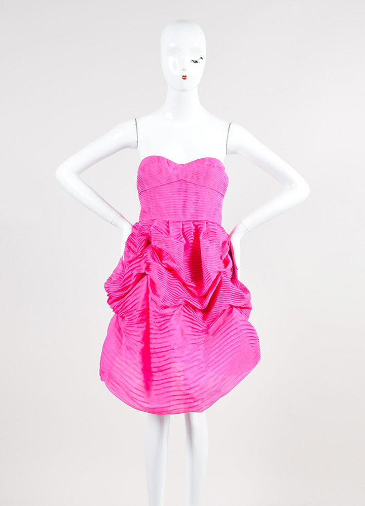 Pink Silk Stella McCartney Pleated Strapless Bubble Dress Frontview