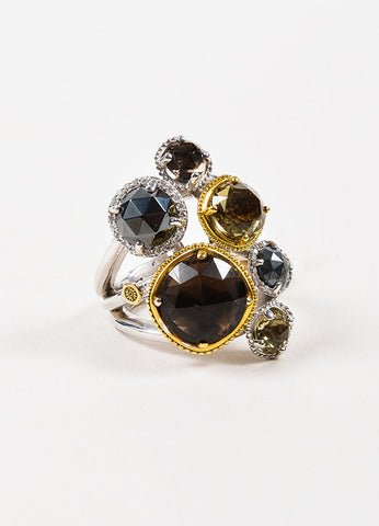 Tacori Sterling Silver, 18K Gold, Diamond, and Quartz Midnight Sun Ring Frontview 2