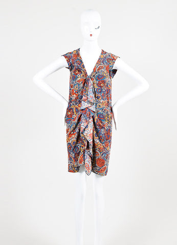 Multicolor Thakoon Chiffon Printed Buttoned Sleeveless Tunic Dress Front 2