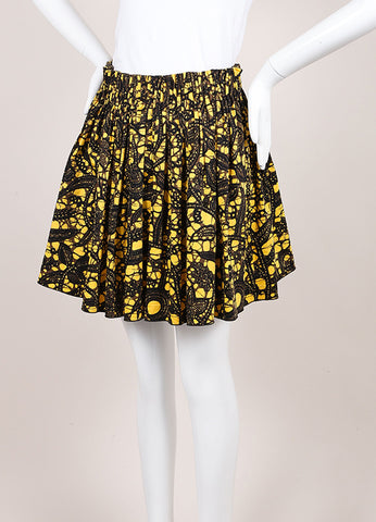 Thakoon Yellow, Black, and Brown Feather Splatter Print Pleated Skater Skirt Sideview