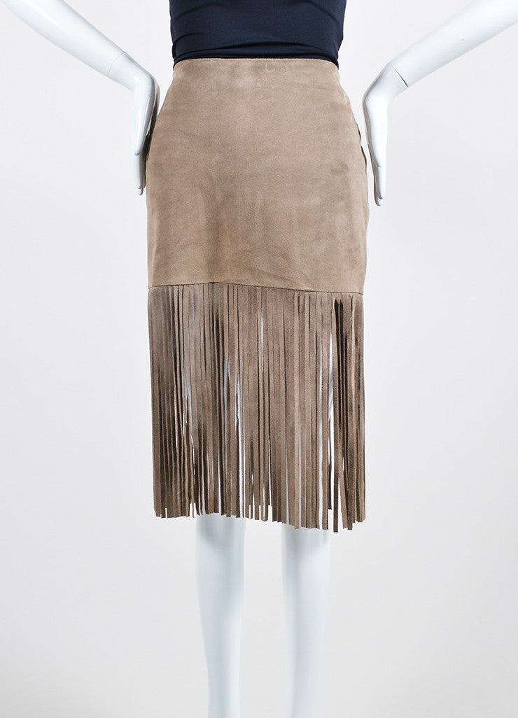 The Perfext Taupe Suede Fringe Mini Skirt Frontview