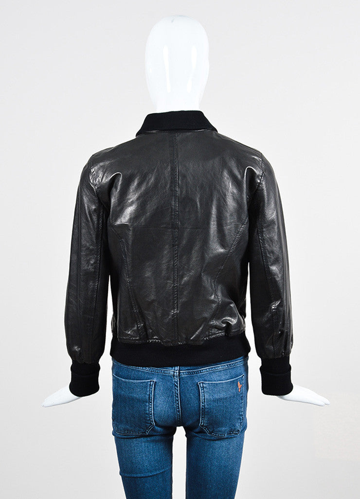 Theory Black Leather Cotton Knit Trim Zip Bomber Jacket