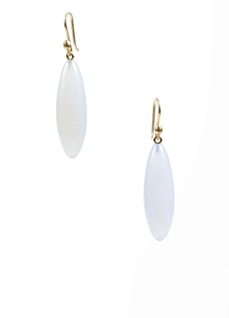 "14K Gold and Blue Chalcedony Gemstone Ted Muehling ""Long Berry"" Drop Earrings Frontview"